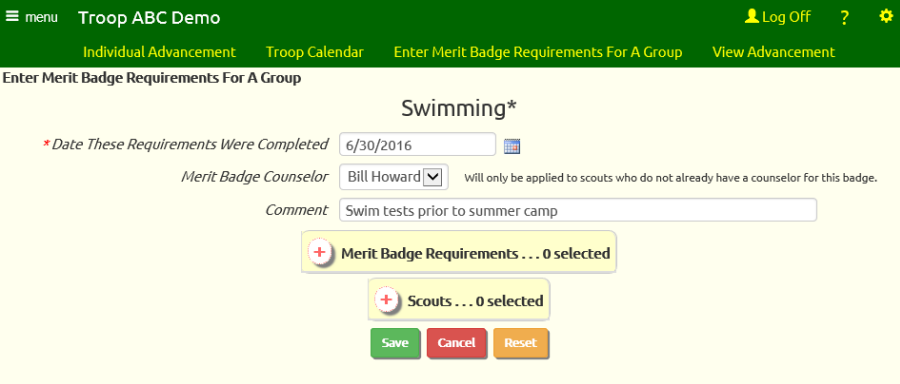 Troopwebhost User Guide Sign Off On Merit Badge Requirements For A