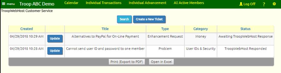 TroopWebHostGS User Guide: TroopWebHost Support Tickets