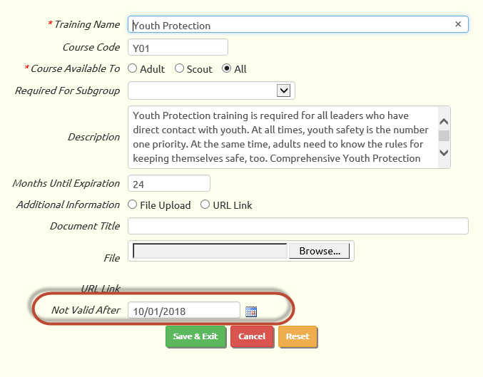 To support this change, we added a Not Valid After field to the Training  Course detail page in TroopWebHost and TroopWebHostCS, as shown below.